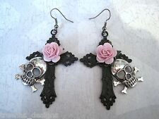 *SKULL BLACK CROSS CANDY PINK ROSE* Large Gothic Earrings Day of the Dead GIFT