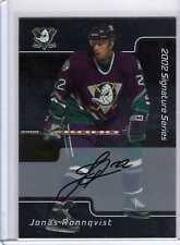 JONAS RONNQVIST /02 ITG BAP Be A Player AUTO ROOKIE RC Signed Signature Card