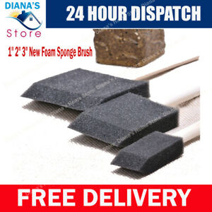 """New Foam Sponge Brushes in Assorted Sizes 1"""",2"""",3"""" For Painting Art & Craft"""