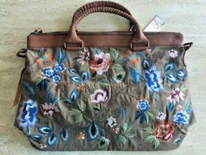 Johnny Was Renata Overnight Taupe Bag Handbag Embroidered Flowers Weekender New