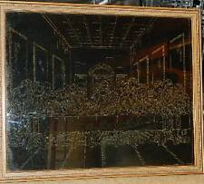 Last Supper wall hanging Gold on Black etching scratch art  pen & ink