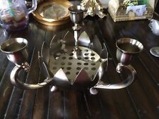 Ornate Godinger Silver Plate Centerpiece Candle Holder With Frog Lotus Flower