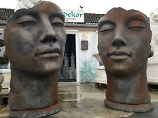 """Gartenfigur Gesicht """"Mann"""" und """"Frau"""" im Set ,Rosteffekt"""