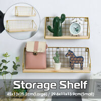 Floating Shelves Wall Hallway Mounted Rustic Metal Wire Storage Organizer Decor