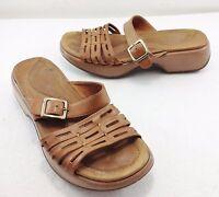 "Dansko Womens 9.5 - 10 US 40EU Beige Leather 1 1/2"" Heels Slides Sandals"
