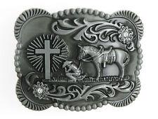 Praying Cowboy Cross Western Silver Tone Metal Belt Buckle