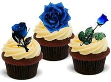 BLUE ROSE MIX- 12 Edible Stand Up Premium Wafer Cake Toppers