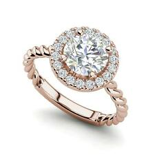 Cut Diamond Engagement Ring Rose Gold Pave Halo Twist 2.15 Carat Si1/D Round