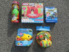 (5) Children's Fun Pool Items Little Tykes Crab Shade Pool & Baby Shark & More