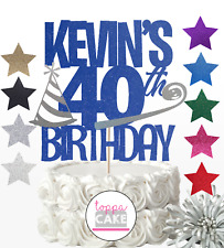 CUSTOM Glitter Cake Topper Personalised 16th 18th 21st 40th 50 60 30th Birthday