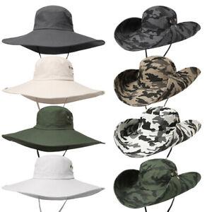 Men Quick Dry Wide Brim Bucket Hat Summer Outdoor Sun Protection Hat Fishing Cap