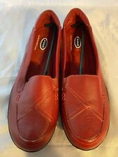 NEW DR. SCHOLL'S Double Air Pillo Dark Red Leather Slip on Loafer, Size 8.5 M