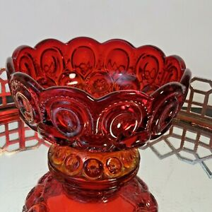 LE Smith Moon and Stars Glass Footed  Candy Jar Dish Ruby Red  6 1/4 #N1
