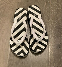 Michael Kors Platform Flip Flop Sandals, Black/white Zigzag, Womens Sz 7M US