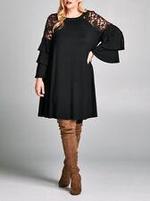 Plus Black Lace Tiered Ruffle Bell Sleeve Swing Tunic Dress Babydoll 2X