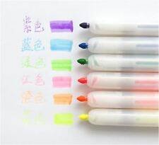 6X Push Pen Head Highlighter Stationery 6 Color