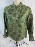 Chico's Lightweight 3/4 Sleeve Silk Blend Green Jacket Women's Size 0 Small 0810