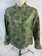 Chico's Lightweight 3/4 Sleeve Silk Blend Green Jacket Women's Size 0 Small 0810