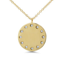 Diamond Pendant 14K Yellow Gold Medallion Plate Circle Disk Coin Necklace 0.08ct