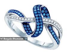 blue white diamond .25 carat 10K white gold infinity weave love journey ring