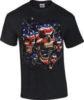 Flag Patriotic Skulls Red White Blue Skull Licensed T-Shirt