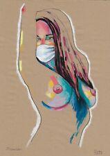 original drawing A3 198DO art modern female nude pastel signed 2020 70 g/m2