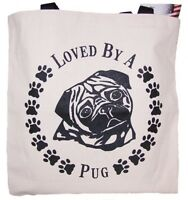 Loved By A Pug Tote Bag New  MADE IN USA