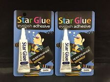 2PCS  STAR GLUE EYELASH ADHESIVE GLUE FOR FAKE EYELASHES DARK  7g 0.1/4oz