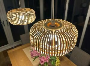 Handmade Bamboo Pendant Ceiling Lampshade, Oval Shape, Natural Brown Large L016L
