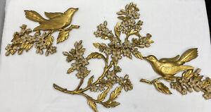 Mid Century Modern Gold Flower/Birds Wall Sculpture 3 Piece Set Wall Hanging