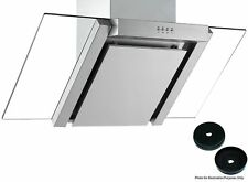 Cookology 90cm Angled Glass Chimney Cooker Hood in S/Steel & Carbon Filters