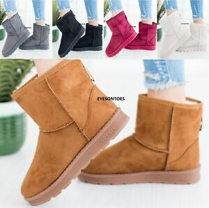 WOMENS FUR SNOW ANKLE FAUX FUR LINED LADIES WINTER WARM SNUGG CASUAL BOOTS SZ