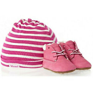 Timberland Infant Soft Bottom Solid Pink Toddler Girl Shoes Crib Booties Cap Set