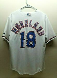 Majestic Mitch Moreland 18 Texas Rangers CoolBase White/Home Team Jersey Size M