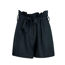 LADIES WOMENS SATIN WOVEN PAPERBAG WAIST TIE BELTED HIGH WAISTED SHORTS