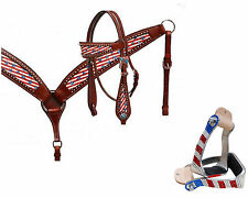 WESTERN BLING! PATRIOTIC HORSE BRIDLE BREAST COLLAR MATCHING CRYSTAL STIRRUPS