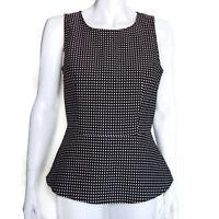 BANANA REPUBLIC Black White Polka Dot Retro Peplum Sleeveless Top size 10