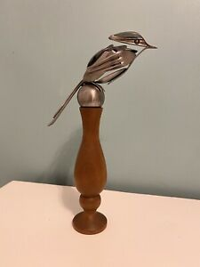 Handmade metal silverware bird sculpture- Steampunk art cutlery
