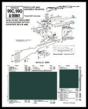 1992 Marlin 99C 990 and 99M1 Rifle Schematic Exploded View Parts List 2-pg Ad