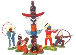 BRITAINS HERALD TOYS - SIX NTH. AMERICAN INDIAN FIGURES - 1960's