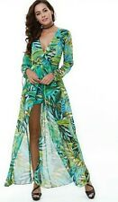 2017 Tropical Romper Long Sleeve Floral Print Built-in Shorts Maxi Dress L