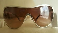 FENDI Silver Metal Shield Sunglasses ITALY NWT NEW $395