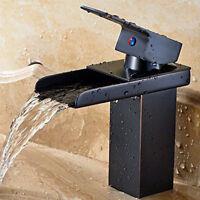 Bathroom Matte Black Brass Waterfall Basin Sink Faucet Single Handle Mixer Tap