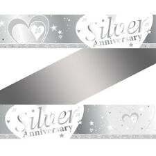 9ft x 25th Silver Wedding Anniversary Party Foil Banner Decoration