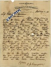 1874 JEFFERSON TEXAS letterhead W.H. MASON & THOMAS J. CAMPBELL Attorney LAWYER