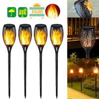 33 LED Solar Power Outdoor Torch Lights Dancing Flame Flickering Lamp Lawn Light
