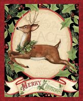 """Merry Christmas Woodland Deer Panel 100% cotton Fabric by the panel  36"""" X 42"""""""
