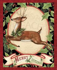 "Merry Christmas Woodland Deer Panel 100% cotton Fabric by the panel  36"" X 42"""