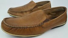 Clarks Men's Size 11 M Mettro Whip Tan Leather Slip On Moc Toe Loafers 65926