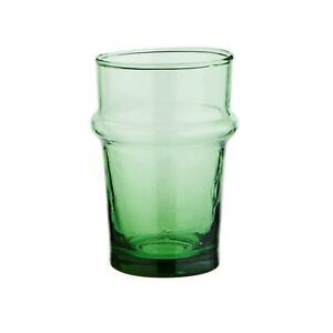 Green Recycled Drinking Glass, Rustic Chunky Glassware, Ethical Beldi 6x9.5cm